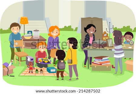 Illustration Featuring Families Holding a Yard Sale - stock vector