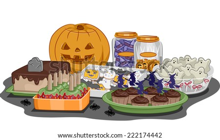 Illustration Featuring Food for a Halloween Party - stock vector
