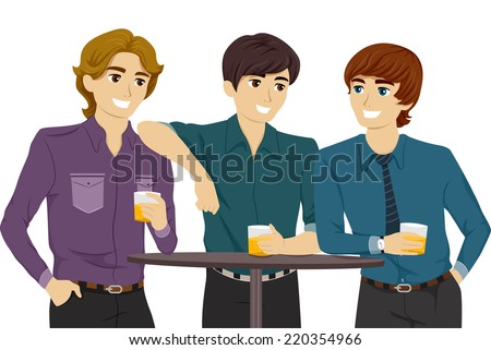 Illustration Featuring Guys Hanging Out in a Bar - stock vector