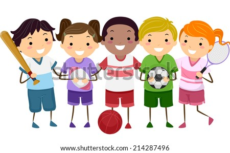 Illustration Featuring Kids Holding Different Sports Gear - stock vector