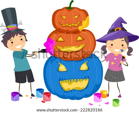 Illustration Featuring Kids Painting Pumpkins