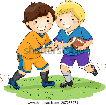 Illustration Featuring Little Boys Playing Football - stock vector