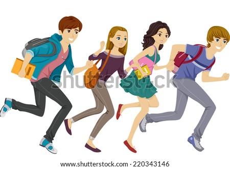 Illustration Featuring Teen Students Running - stock vector
