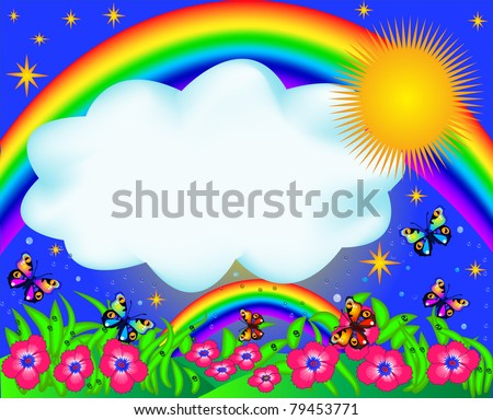 illustration field with color butterfly and rainbow - stock vector
