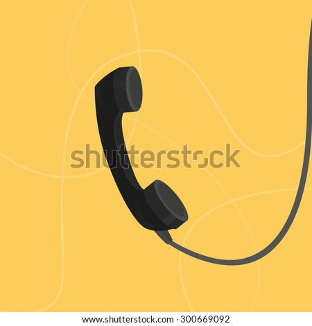 Illustration flat handset. Contact. Wires - stock vector