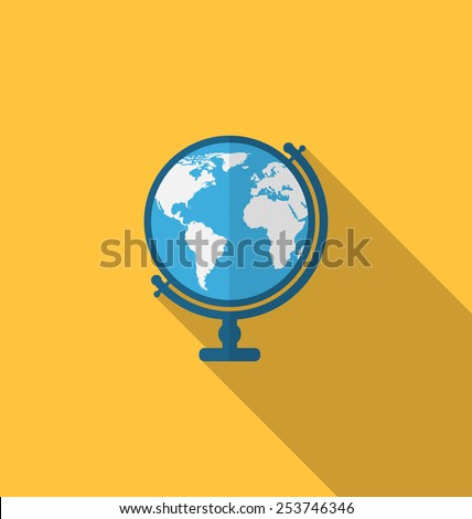 Illustration flat icon of globe with long shadow style - vector - stock vector