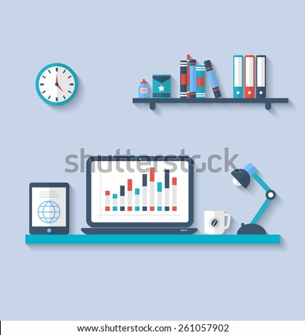 Illustration flat icon of modern office interior with designer desktop, application with interface objects and elements in simple style, long shadows - vector - stock vector