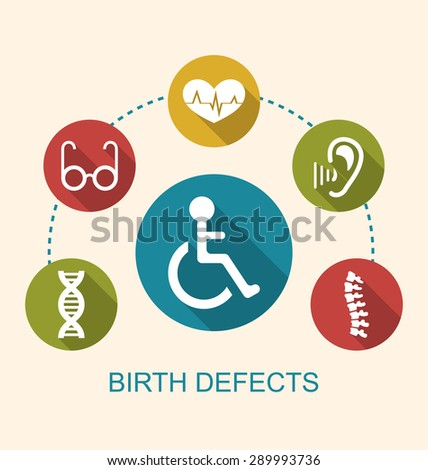 Illustration Flat Icons Disabled with Limited Opportunities and Birth Defects - Vector - stock vector