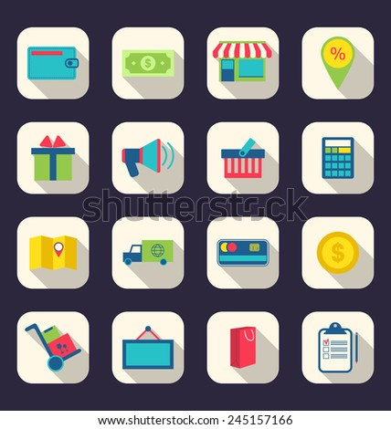 Illustration flat icons of e-commerce shopping symbol, online shop elements and commerce item, long shadow effect - vector - stock vector