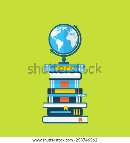 Illustration flat icons of globe and heap handbooks - vector - stock vector