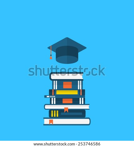 Illustration flat icons of graduation cap and  heap textbooks - vector - stock vector