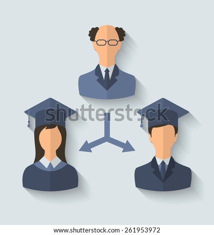 Illustration flat icons of teacher and his students have graduated from the University, long shadow style - vector - stock vector