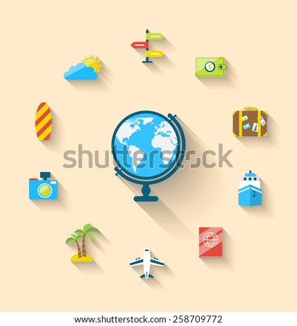 Illustration flat set icons of globe and journey vacation, simple style with long shadow - vector - stock vector