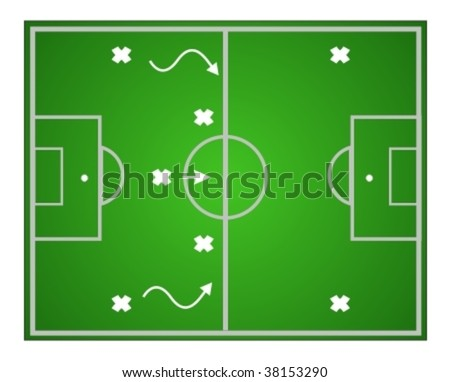 Illustration football game. Teamwork strategy - stock vector