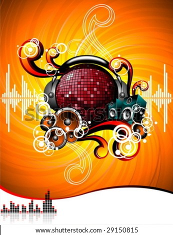 Illustration for a musical theme with speakers and disco-ball on grunge background. - stock vector