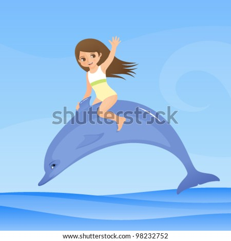 illustration for children - a cute small girl is riding dolphin