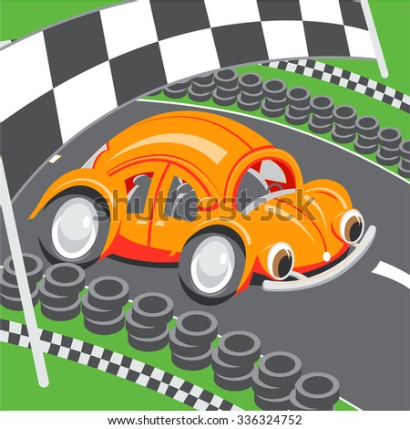 Illustration for children: An orange racing car speeding on a racing track