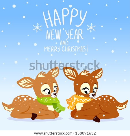 illustration for Christmas and New Year cute deer - stock vector