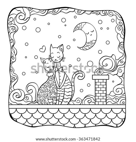 Illustration For Coloring Book Cats In Love On The Roof Design Valentines Day