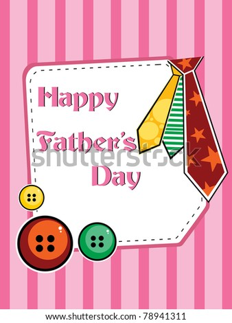 illustration for father's day with colorful tie, colorful buttons - stock vector