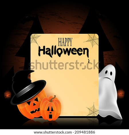 Illustration for Halloween with pumpkins and ghost and place for your text - stock vector