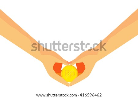 Illustration for Money Grubber or money oriented people (golden rupiah money) - stock vector