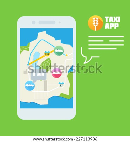 Illustration for website and mobile application. Flat design. Vector. Editable. Navigation and smartphone. Taxi app. - stock vector
