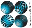 illustration, four abstract blue globes on white background - stock photo