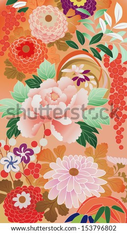 illustration: fragment of a vintage kimono - stock vector
