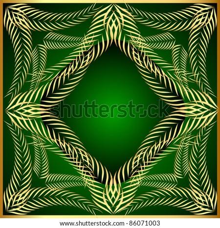 illustration frame from gold ear on green background - stock vector
