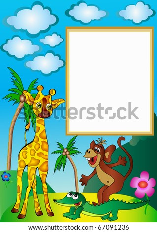 illustration frame with palm by giraffe by ape and crocodile