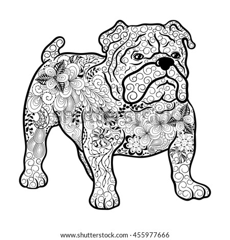Illustration French Bulldog Dog Was Created In Doodling Style Black And White Colors
