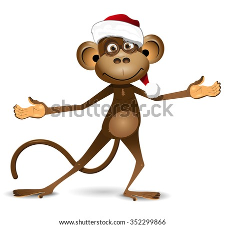 Illustration funny monkey symbol of the New Year - stock vector