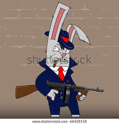 illustration gangster rabbit in a blue suit, with gun - stock vector