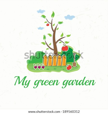 illustration garden with tree, fences, shovel, vegetables and ap - stock vector