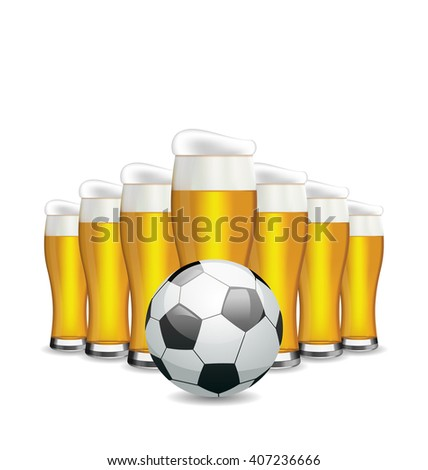 Illustration Glasses of Beer and Soccer Ball. Objects Isolated on White Background  - Vector - stock vector