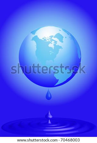 illustration globe loses water on drop - stock vector