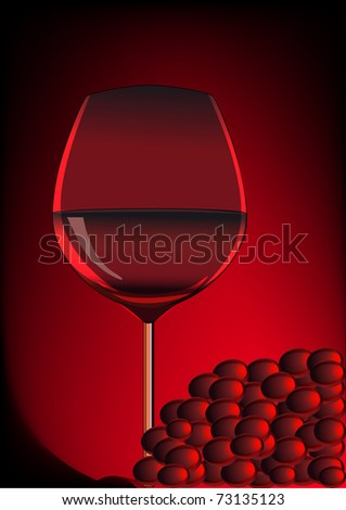 illustration goblet red blame and branch of grape - stock vector