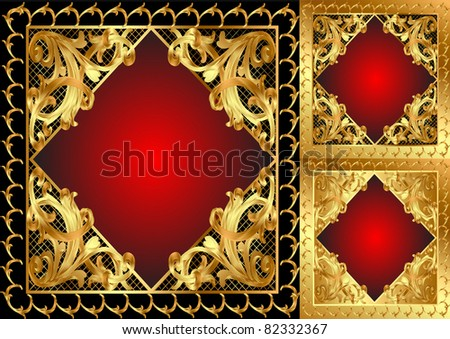 illustration gold frame with pattern and band - stock vector