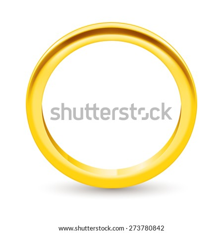 Illustration golden ring  isolated on a white - stock vector