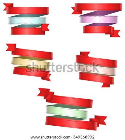 illustration graphic depicting a triple fashion banner ribbons set over isolated white background - stock vector