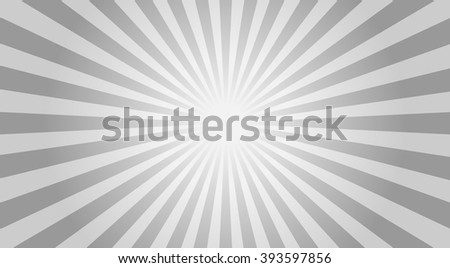 Illustration gray sunbeams. Bright monochrome sunbeams. Abstract bright background. The sun and the sun's rays on gray background - vector illustration. - stock vector