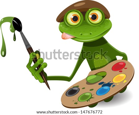 illustration green frog artist with palette and brush - stock vector