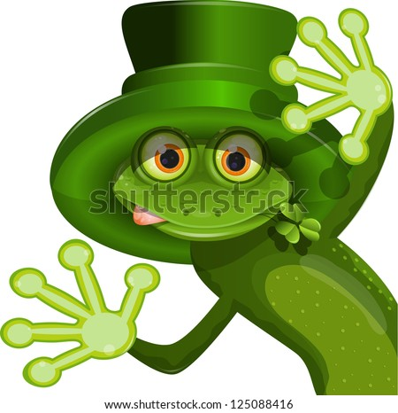 illustration Green frog wearing a hat of Saint Patrick - stock vector