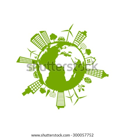Illustration Green Futuristic World, Concept. Environment with Solar Panels and Wind Generators - Vector - stock vector