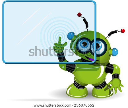 Illustration green robot with a blue screen - stock vector