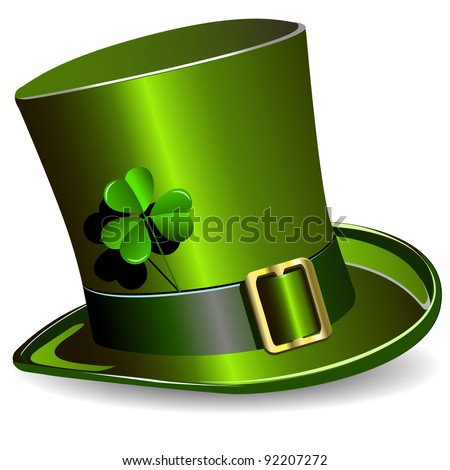 illustration, green St. Patrick's Day hat with clover - stock vector