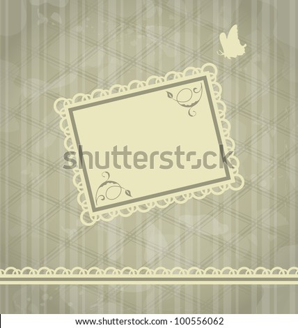 Illustration grunge oldfashioned background with greeting card - vector