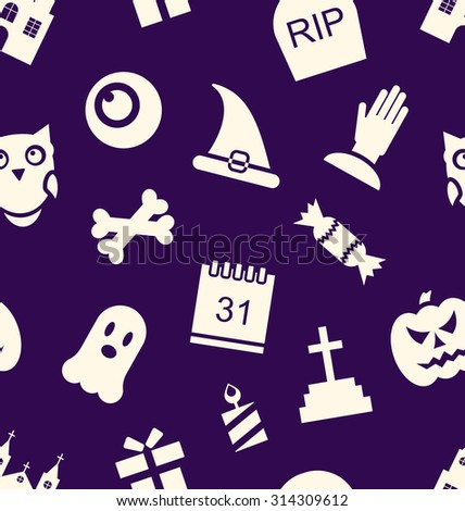 Illustration Halloween Seamless Pattern with Traditional Symbols - Vector - stock vector