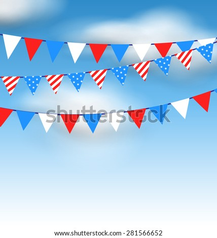 Illustration Hanging Bunting Pennants in National American Colors for Holidays, Blue Sky with Clouds - Vector - stock vector